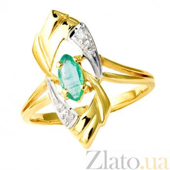 Золотое кольцо в жёлтом цвете с изумрудом и бриллиантами Лукреция 000021298