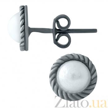 Серебряные серьги-пуссеты Афродита с жемчугом 000078047