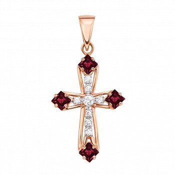 Золотой декоративный крестик с рубинами и бриллиантами 000136155