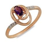 Кольцо Миранда из красного золота с аметистом и бриллиантами
