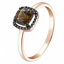 Кольцо в красном золоте Лада с раухтопазом и бриллиантами