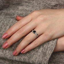 Серебряное кольцо Кассиопея с чёрным и белыми фианитами