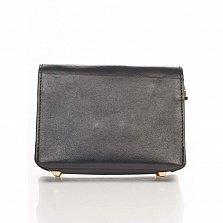 Кожаный клатч Genuine Leather 1812 черного цвета с декоративной пряжкой и плечевым ремнем