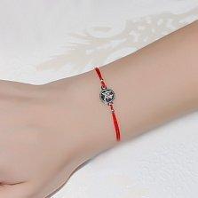 Шелковый браслет Иероглиф Здоровье с серебряной вставкой