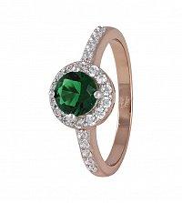 Серебряное кольцо Ривьера с  позолотой, зеленым и белыми фианитами