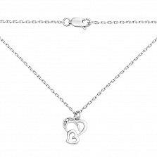 Серебряное колье Сердце к сердцу с фианитами