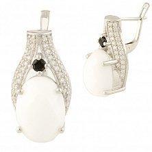 Серебряные серьги Леонарда с белым агатом и фианитами