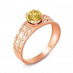 Кольцо из красного золота с цитрином 000135275