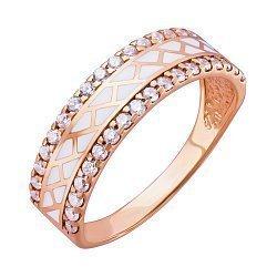 Золотое кольцо с фианитами и эмалью 000046646
