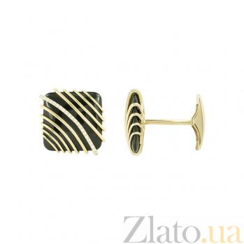 Золотые запонки с гематитом и бриллиантами Джонатан 1З037-0034