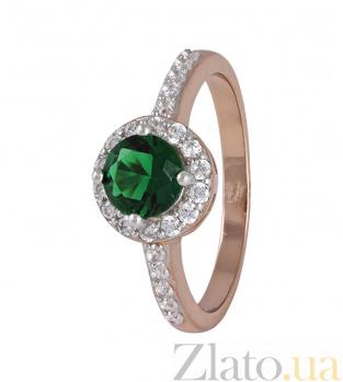 Серебряное кольцо с зеленым фианитом Леона 000025431
