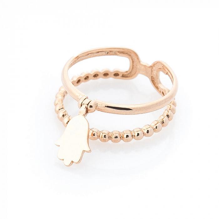 Золотое кольцо Защитник с подвеской-хамсой и двойной шинкой в виде полусфер 000082388