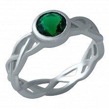 Серебряное кольцо Фабиана с синтезированным изумрудом