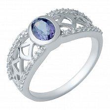 Серебряное кольцо Алекса с александритом и белым цирконием