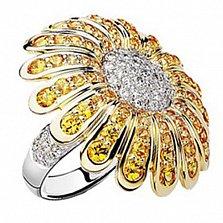 Золотое кольцо с  сапфирами и бриллиантами Маргаритка
