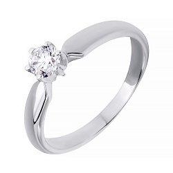 Золотое кольцо в белом цвете с бриллиантом 000039095