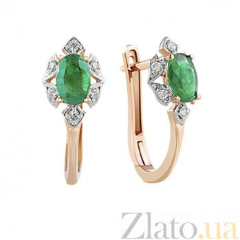 Серьги из красного золота с изумрудами и бриллиантами Натали KBL--С2503/крас/изум
