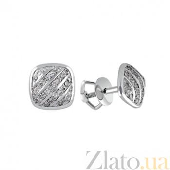 Серьги-пуссеты из белого золота с бриллиантами Дина KBL--С2393/бел/брил