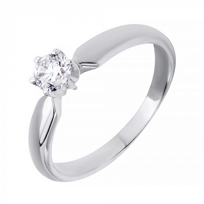 Золотое кольцо Афродита в белом цвете с бриллиантом 000039095