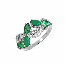 Серебряное кольцо Арина с зеленым агатом, зеленым кварцем и фианитами