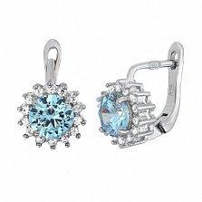 Серебряные сережки со светло-голубым цирконием Джаухар