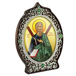 Икона Святой Апостол Андрей Первозванный с латунью, зелеными фианитами и цветной эмалью 000004209
