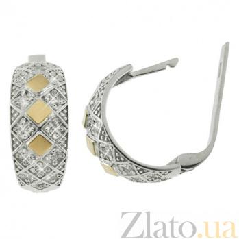 Серебряные серьги с золотой вставкой и фианитами Варвара BGS--384с
