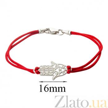 Шёлковый браслет с серебряной вставкой Хамса 000030700