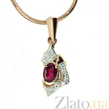 Подвес из красного золота с рубином и бриллиантами Рокайль ZMX--PR-1014_K