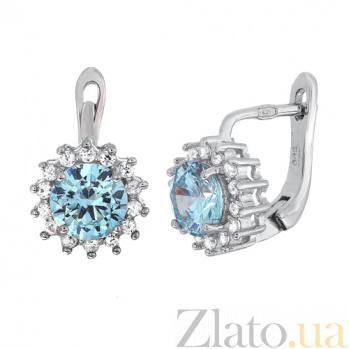Серебряные сережки со светло-голубым цирконием Джаухар SLX--СК2ФТ/475