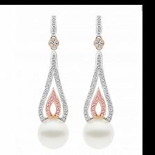 Серьги Argile-A с жемчугом, бриллиантами и розовыми сапфирами