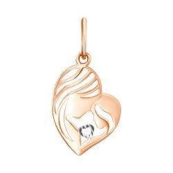 Кулон-сердце в комбинированном цвете золота с алмазной гранью 000125335