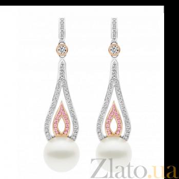 Серьги Argile-A с жемчугом, бриллиантами и розовыми сапфирами E-cjP-W/R-28s-82d