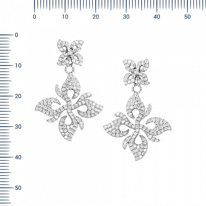 Серебряные серьги-подвески Анима с фианитами 000081941