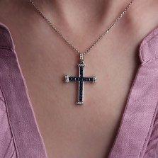 Золотой крестик Каллан с сапфирами и бриллиантами