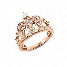 Кольцо-корона из красного золота Ваше Величество с фианитами