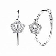 Серебряные серьги-кольца Влюбленная королева с сердечками, коронами и белыми фианитами