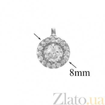 Серебряные серьги-пуссеты с фианитами Дария PTL--7с433/01