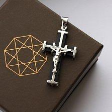 Декоративный крестик из серебра с каучуком Небесный Щит