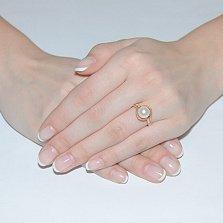 Золотое кольцо с жемчугом и фианитами Рианна