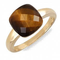 Кольцо из желтого золота с тигровым глазом Хищница 000037979