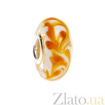 Бусина серебряная с желтым муранским стеклом  AQA--002510013