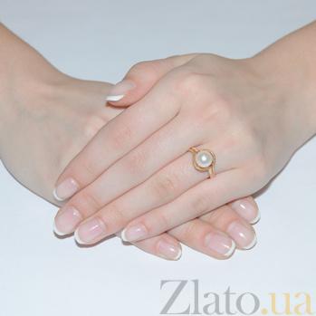 Золотое кольцо с жемчугом и фианитами Рианна 3522786