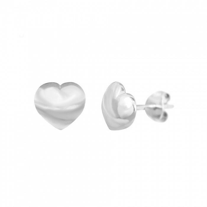 Серебряные серьги-пуссеты Сердечки 000081907