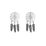 Серебряные серьги Ловец снов с подвесками-перьями