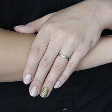 Минималистичное кольцо из белого золота Соты в геометрическом стиле