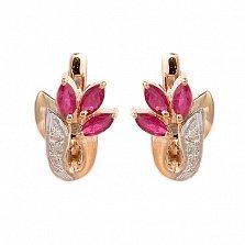 Золотые серьги с бриллиантами и рубинами Валия