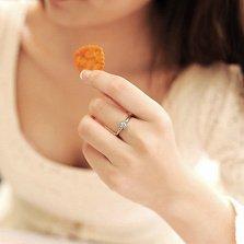 Помолвочное кольцо из красного золота с бриллиантом В окружении любви, 3,2мм