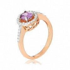 Позолоченное кольцо из серебра с цирконием Индира