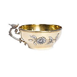 Серебряная чашка Песня весны с позолотой